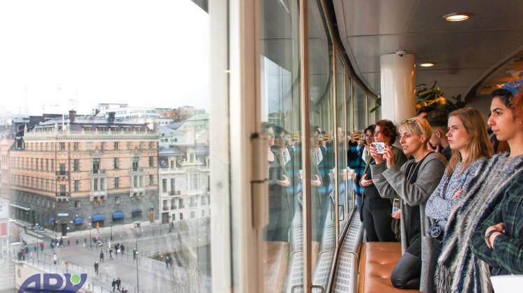 учасники проекту дивляться на панораму з шведського парламенту