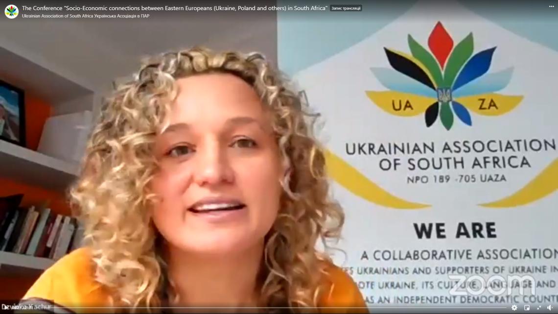 Дзвінка Качур, Президентка Української Асоціації в ПАР, конференція Socio-Economic Connections between Eastern Europeans in South Africa